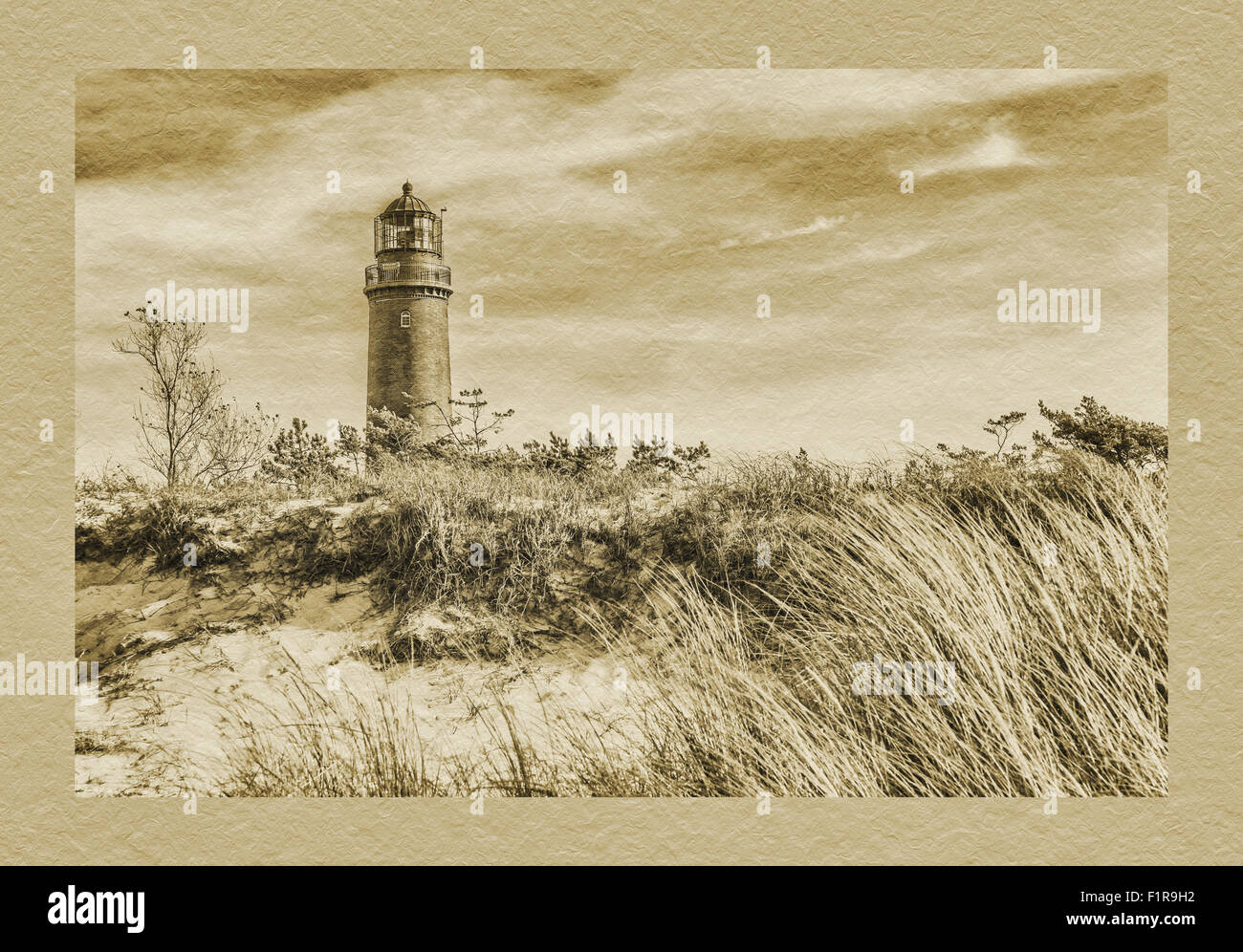 The lighthouse Darsser Ort, Fischland-Darss-Zingst, Baltic Sea, Mecklenburg-Western Pomerania, Germany, Europe - Stock Image