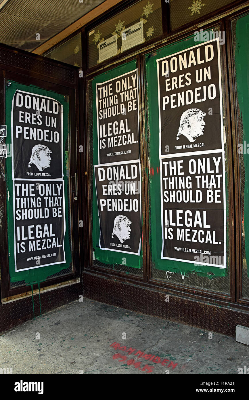 Posters on Bedford Ave in Williamsburg Brooklyn, New York calling Donald Trump a pendejo which is Spanish for idiot - Stock Image