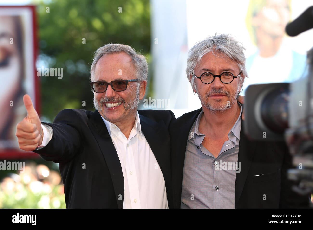 """Actor Fabrice Luchini (L) and director Christian Vincent attend the red  carpet event for the movie """"L'Hermine"""" at the 72nd Venice Film Festival in  Venice, ..."""