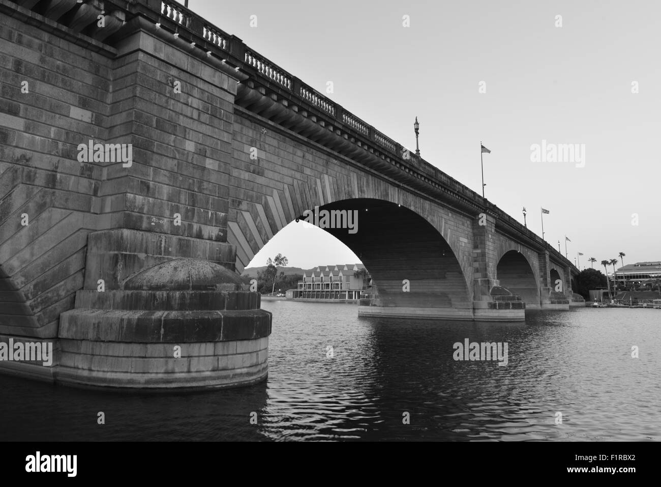 London Bridge at sunrise at Lake Havasu - Stock Image