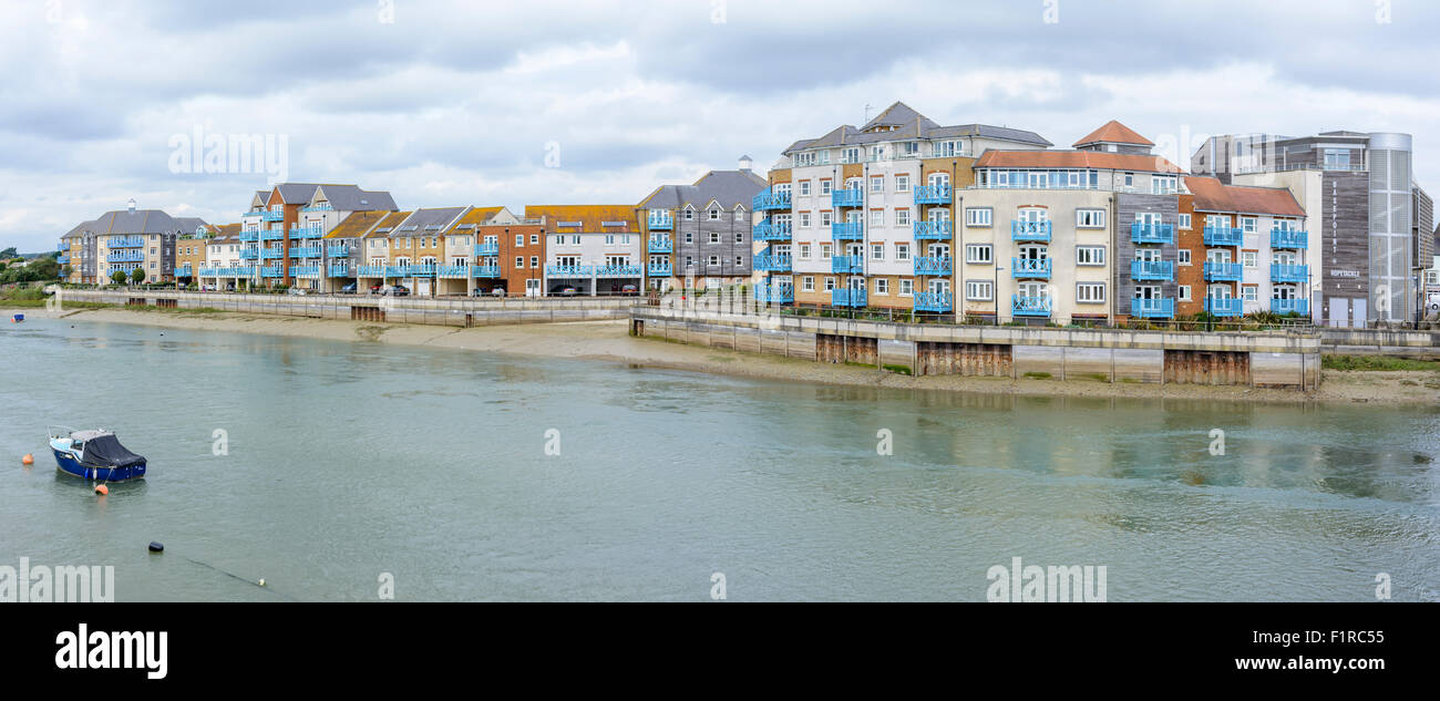 Panorama of riverside apartments along the riverside in Shoreham-by-Sea, West Sussex, England, UK. - Stock Image
