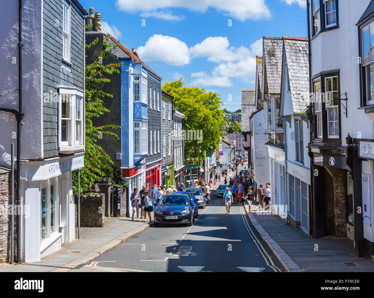 Shops on Fore Street in the town centre, Totnes, Devon, England, UK - Stock Image