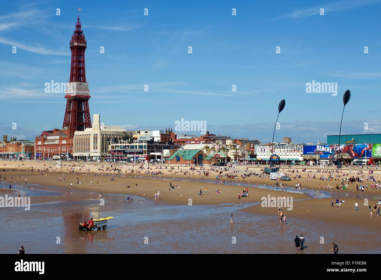 Blackpool Tower and beach, Lancaster - Stock Image