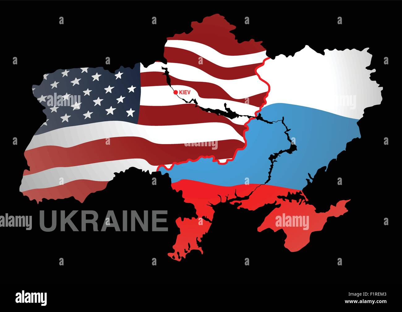 Usa And Russia Map.Ukraine Map Usa V Russia Stock Vector Art Illustration Vector