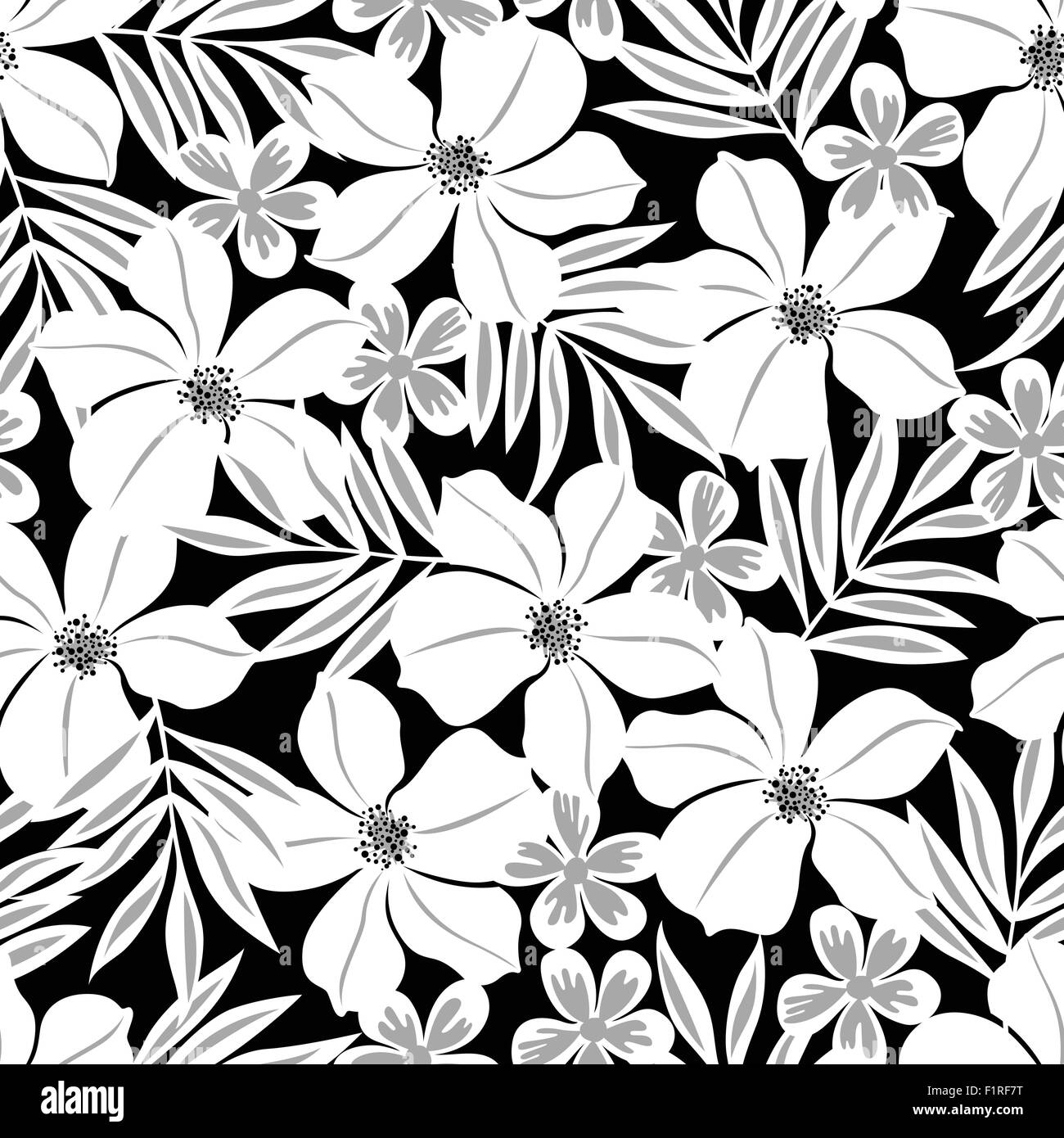 White Tropical Flower On A Black Background Seamless Pattern Stock