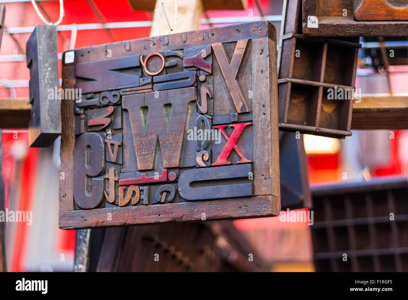 Wood block type in Portobello Road Market, Kensington and Chelsea, London, England, United Kingdom - Stock Image
