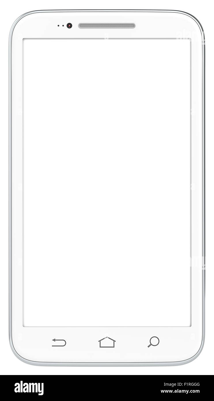 Classic White Smartphone. No Branded. Isolated. - Stock Image