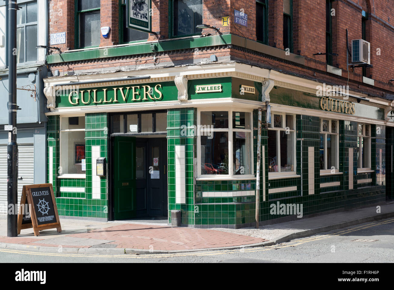 Gullivers pub located between Oldham Street and Tib Street in the Northern Quarter of Manchester. - Stock Image