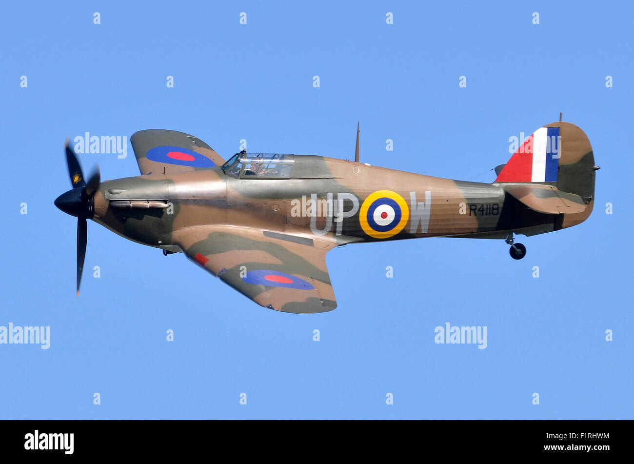 Hawker Hurricane I plane in RAF Battle of Britain 1940 colours making a low flypast at Cosby Victory Show, Leicestershire, - Stock Image