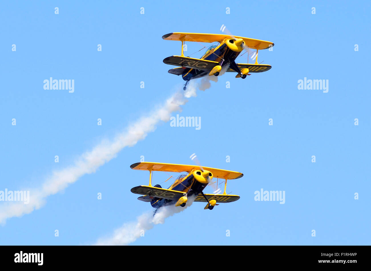 Trig Aerobatic Team's Pitts S-1D Specials in formation, Cosby Victory Show, Leicestershire, UK, 2015. Credit: - Stock Image