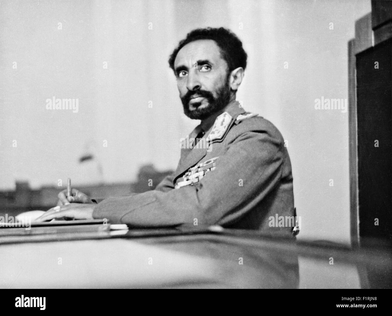 Ethiopian Emperor Haile Selassie I in his study at the Palace 1942 in Addis Ababa, Ethiopia. - Stock Image