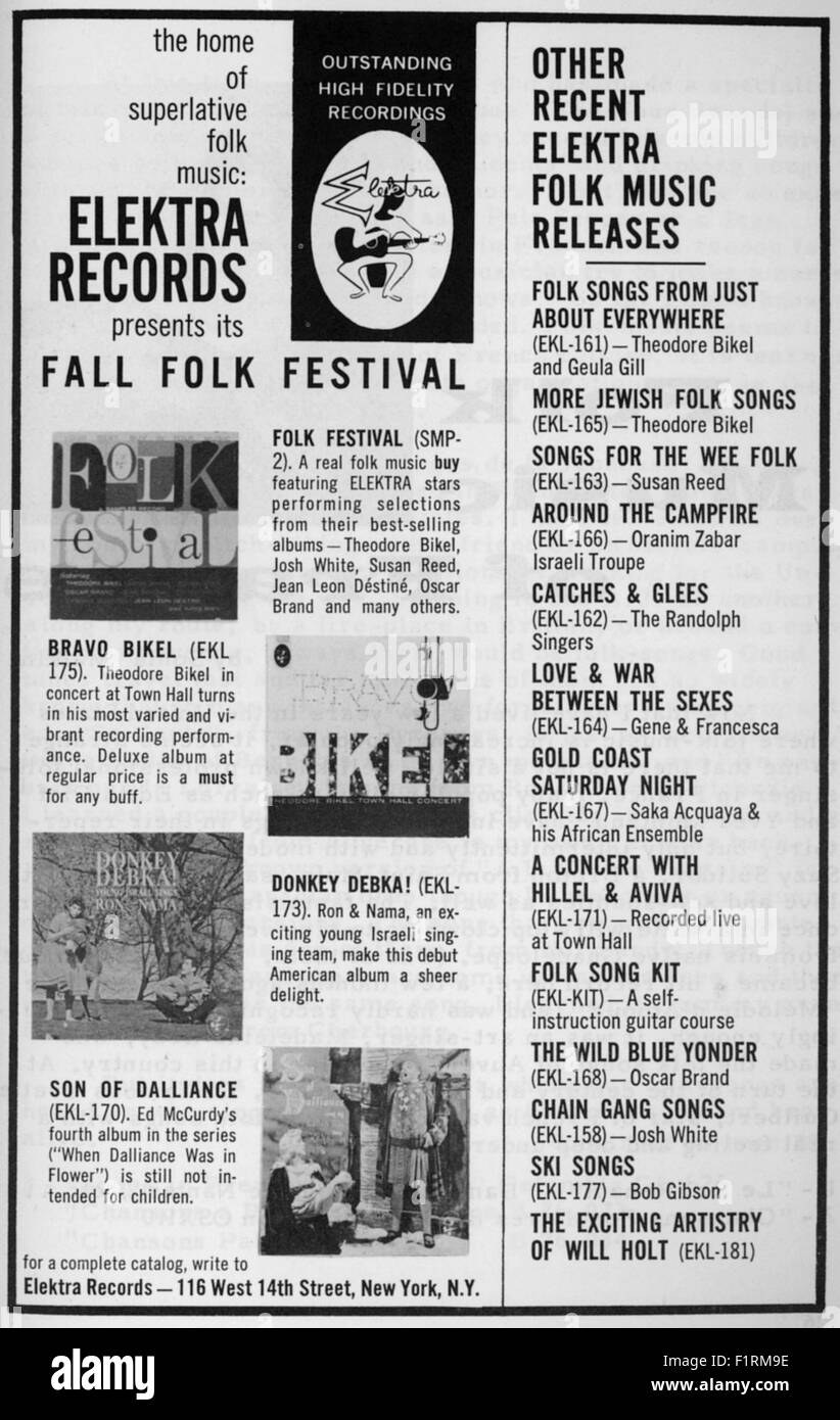 FOLK MUSIC EPHEMERA Circa 1960s PRINT AD FOR ELEKTRA RECORDS ARTISTS Courtesy Granamour Weems Collection Editorial Use Only