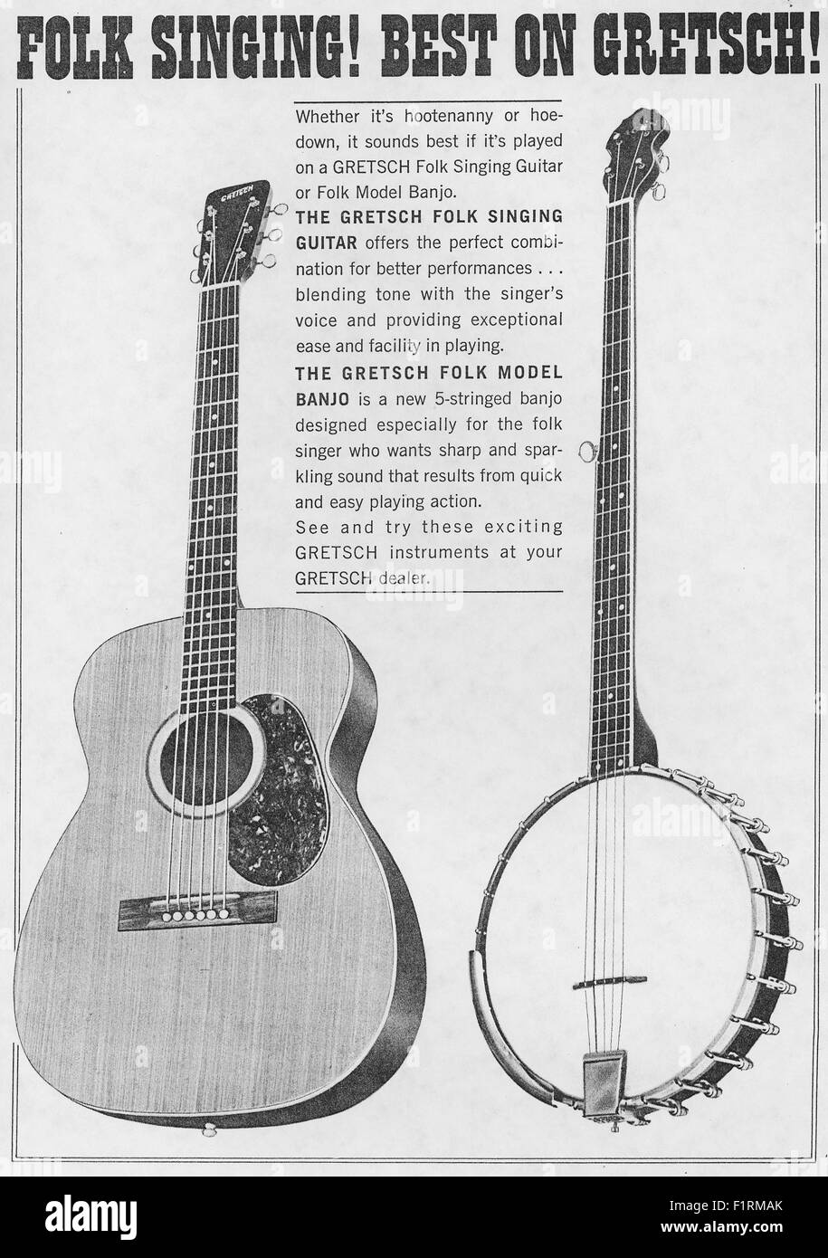 FOLK MUSIC EPHEMERA, circa 1960s.  PRINT AD FOR GRETSCH GUITAR AND BANJO. Courtesy Granamour Weems Collection. AEditorial - Stock Image