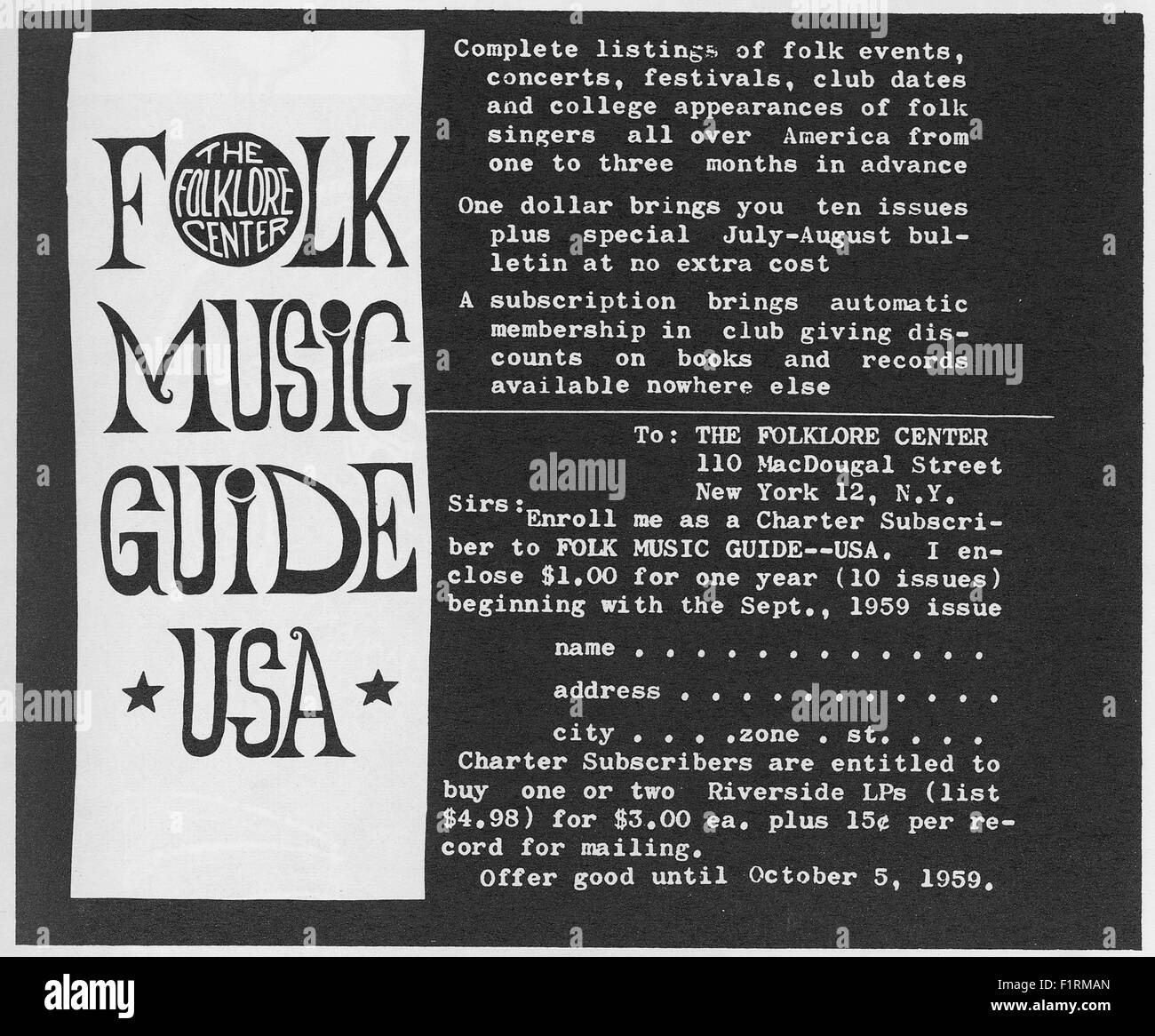 FOLK MUSIC EPHEMERA, circa 1960s. FOLK MUSIC GUIDE USA. Courtesy Granamour Weems Collection. Editorial use only. - Stock Image