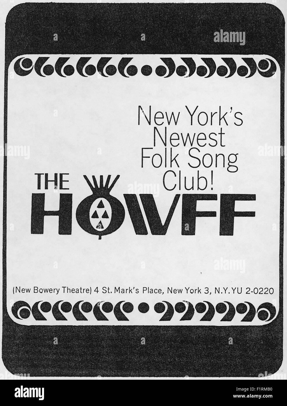 FOLK MUSIC EPHEMERA, circa 1960s. PRINT AD FOR FOLK MUSIC CLUB THE HOWFF. Courtesy Granaamour Weems Collection. - Stock Image