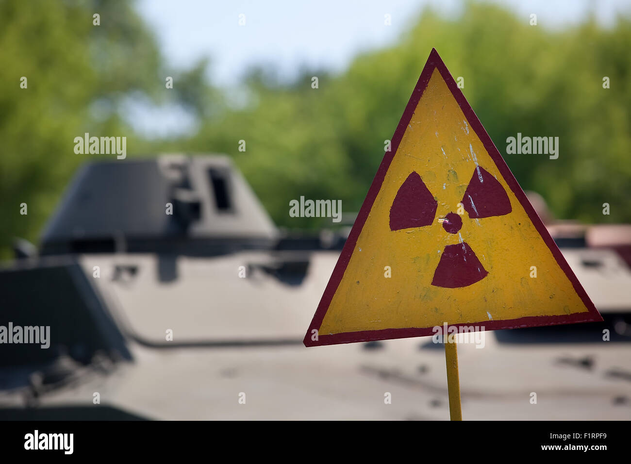 Radioactivity warning symbol Stock Photo
