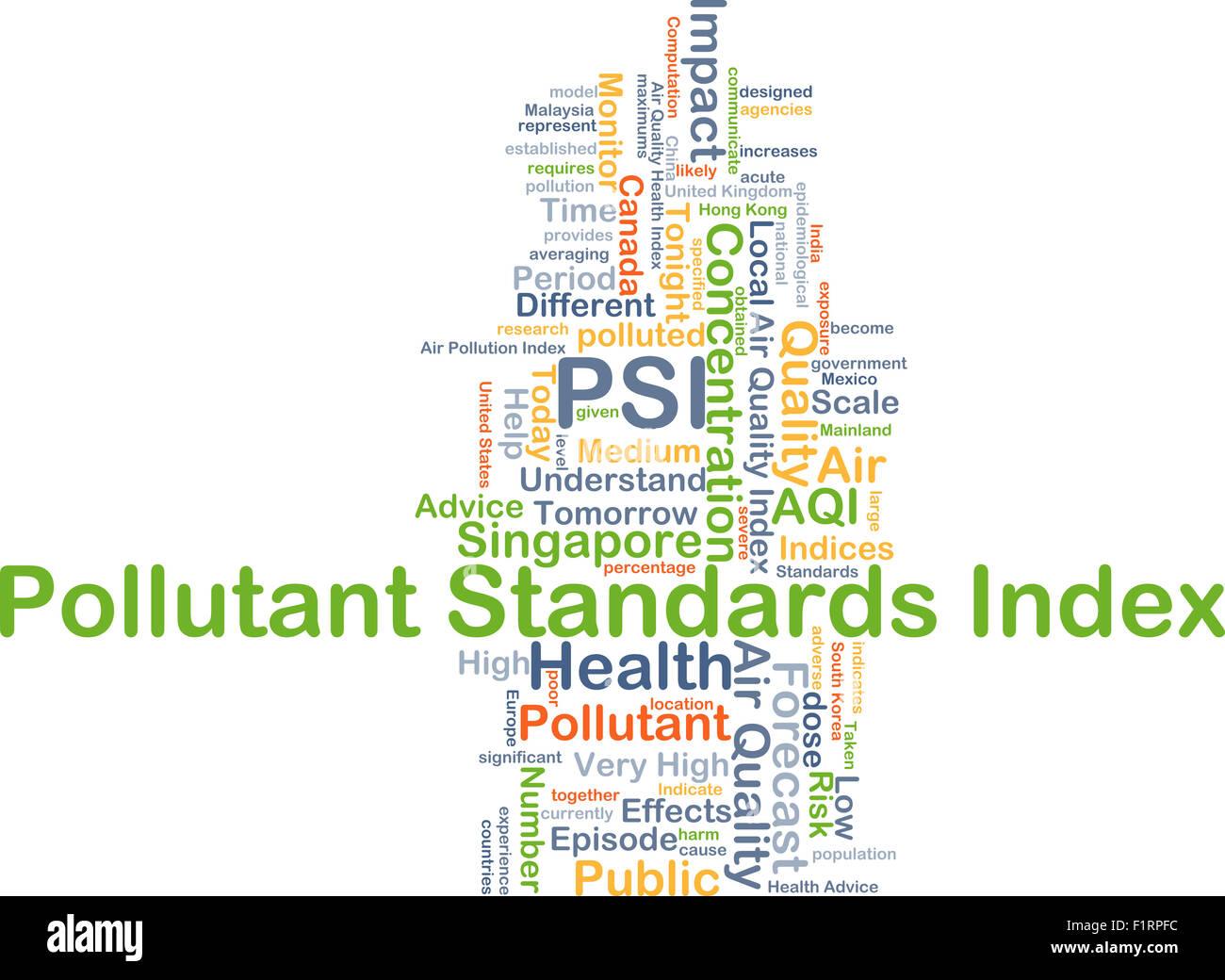 Background concept wordcloud illustration of pollutant standards index PSI - Stock Image