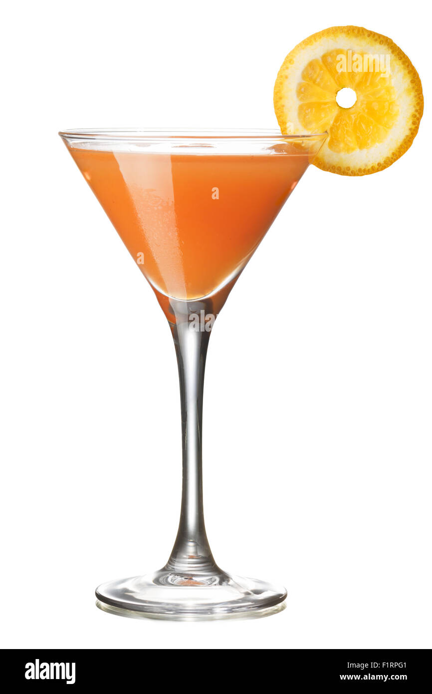 Monkey Gland alcoholic cocktail in a glass decorated with orange slice. IBA official cocktail - Stock Image