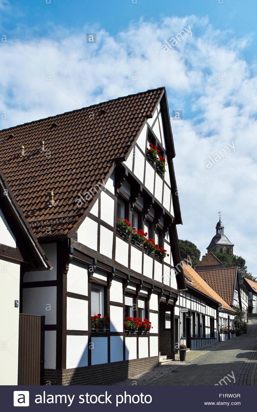 Traditional post-and-beam architecture in Tecklenburg, Nordrhein-Westfalen, Deutschland - Stock Image