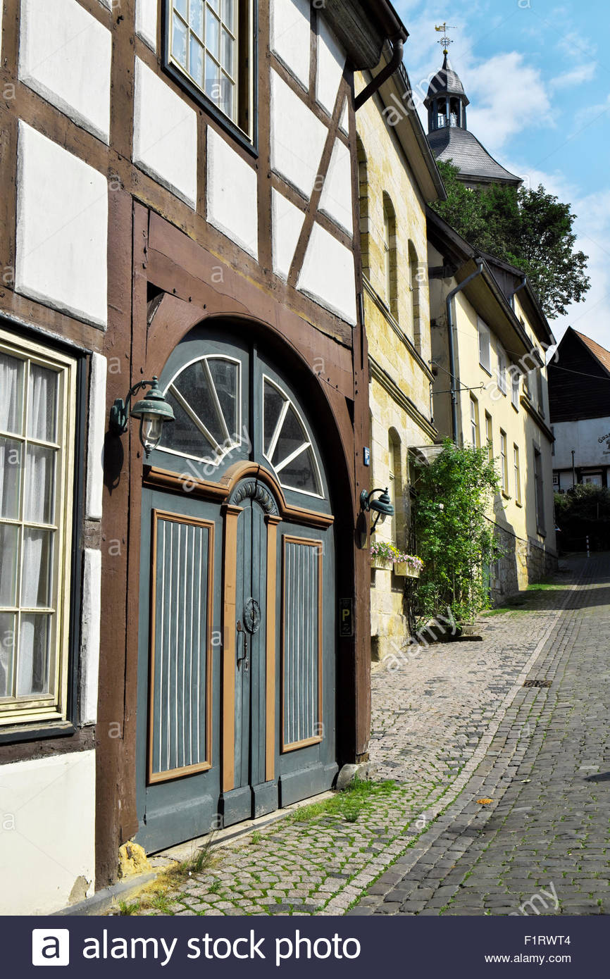 Traditional post-and-beam architecture in Tecklenburg, Nordrhein-Westfalen, Deutschland Stock Photo