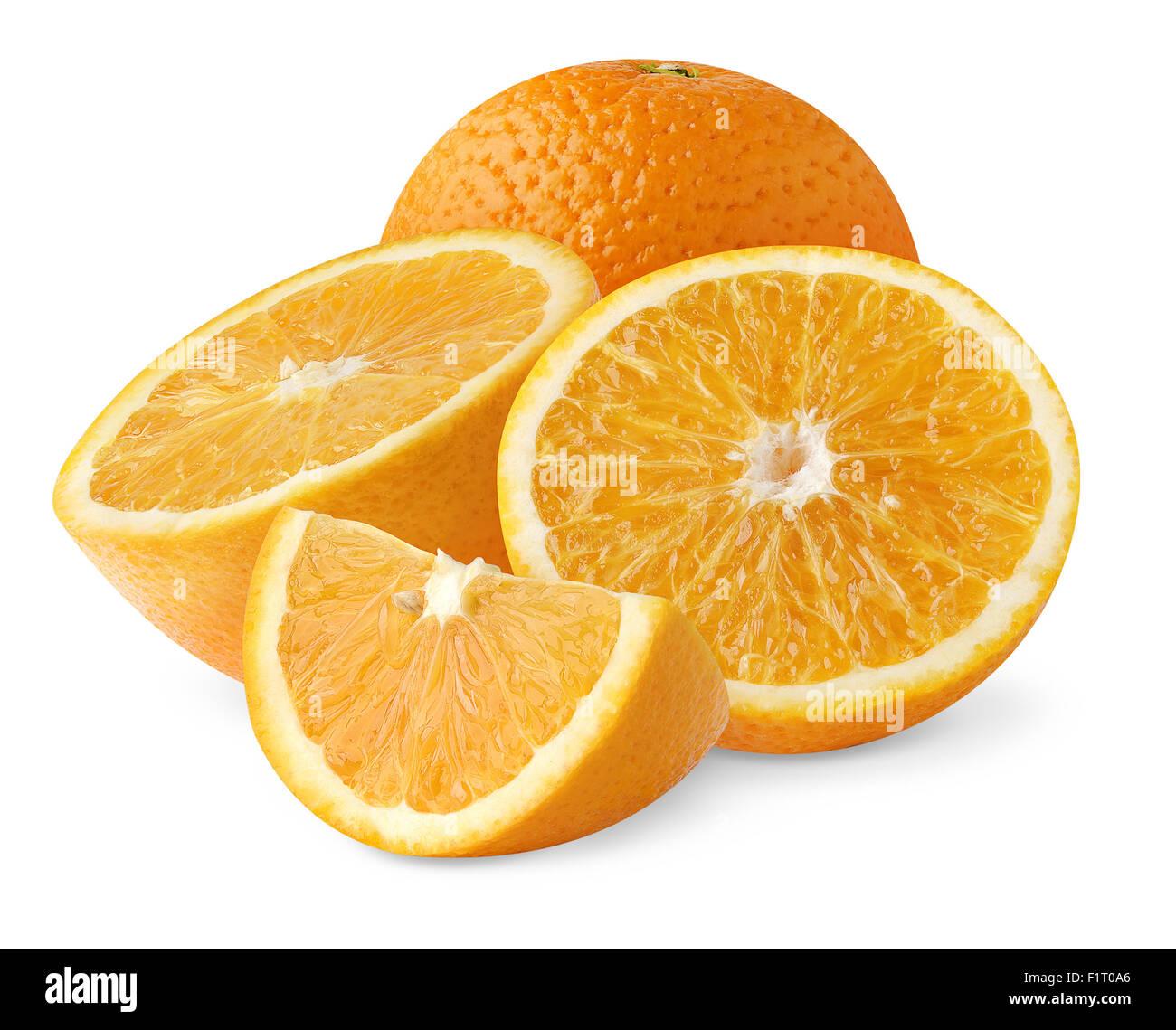 Oranges isolated on white - Stock Image