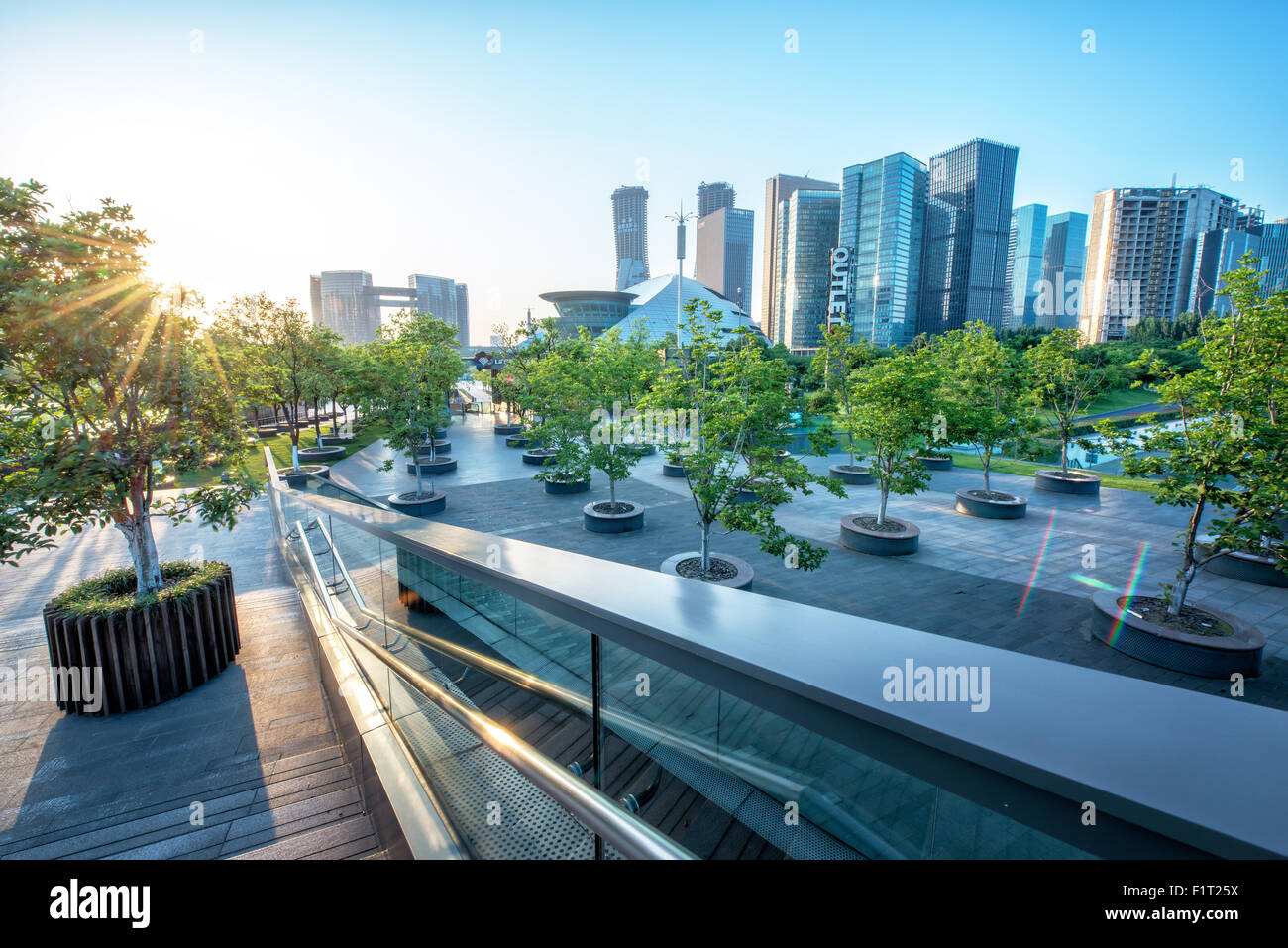 Urban jungle, modern Hangzhou Jianggan cityscape on a beautiful day, Hangzhou, Zhejiang, China, Asia - Stock Image