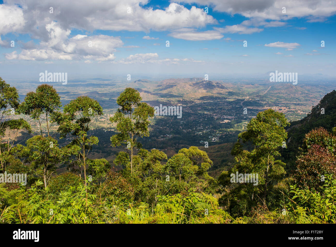 View over Zomba and the highlands from the Zomba Plateau, Malawi, Africa - Stock Image