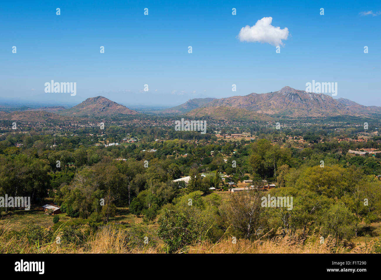 View over Zomba from the Zomba Plateau, Malawi, Africa - Stock Image