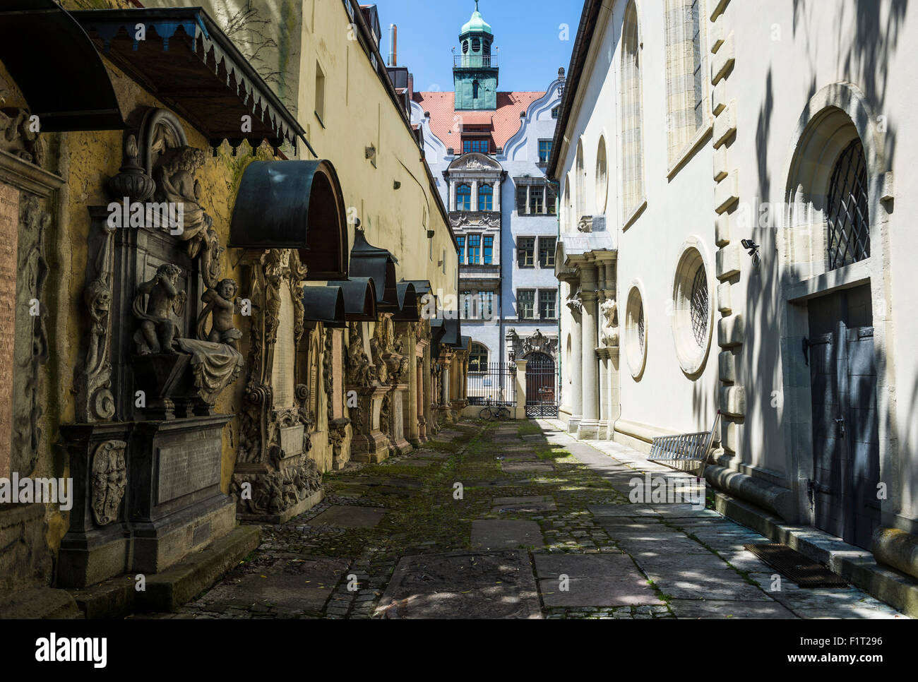 Trinity Church's cemetery grave markers, Church of the Holy Trinity, Regensburg, UNESCO World Heritage Site, - Stock Image