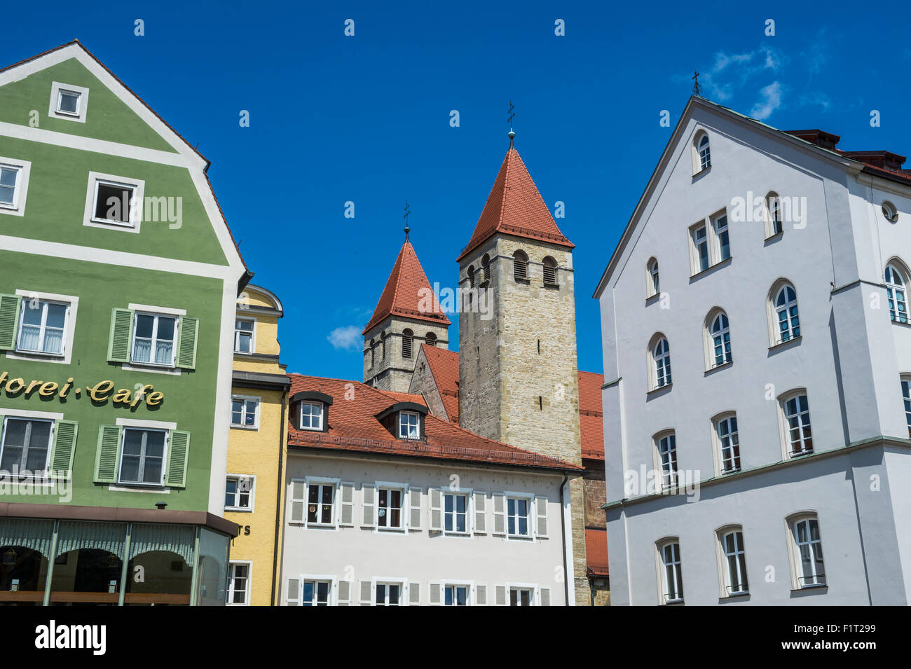 Medieval patrician houses and towers in Regensburg, UNESCO World Heritage Site, Bavaria, Germany, Europe - Stock Image