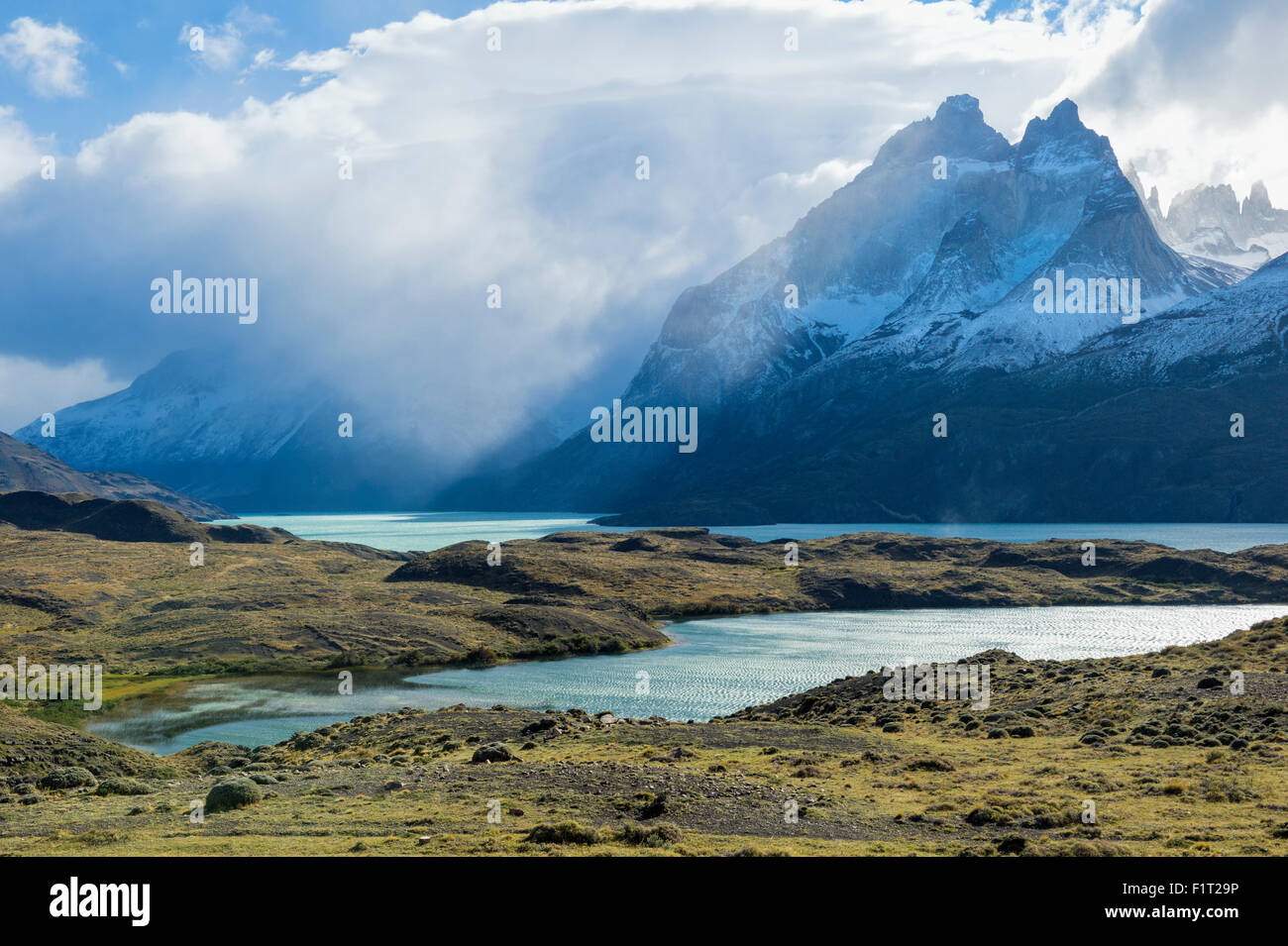 Cloud formations over Lago Nordenskjold, Torres del Paine National Park, Chilean Patagonia, Chile, South America - Stock Image