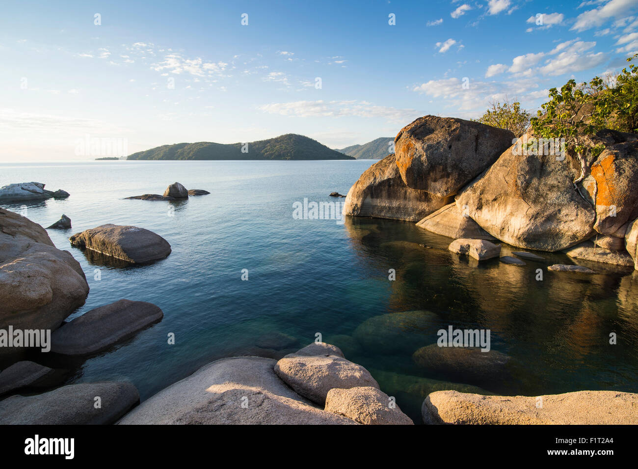 Otter Point at sunset, Lake Malawi National Park, UNESCO World Heritage Site, Cape Maclear, Malawi, Africa - Stock Image
