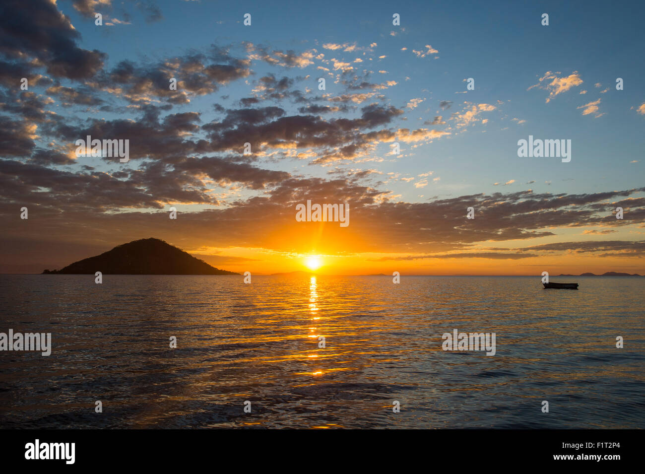 Sunset at Lake Malawi, Cape Maclear, Malawi, Africa - Stock Image