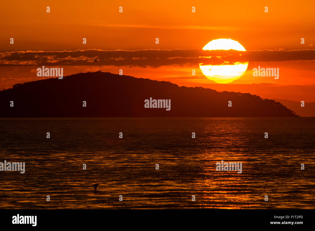 Sunset at Cape Maclear, Lake Malawi, UNESCO World Heritage Site, Malawi, Africa - Stock Image