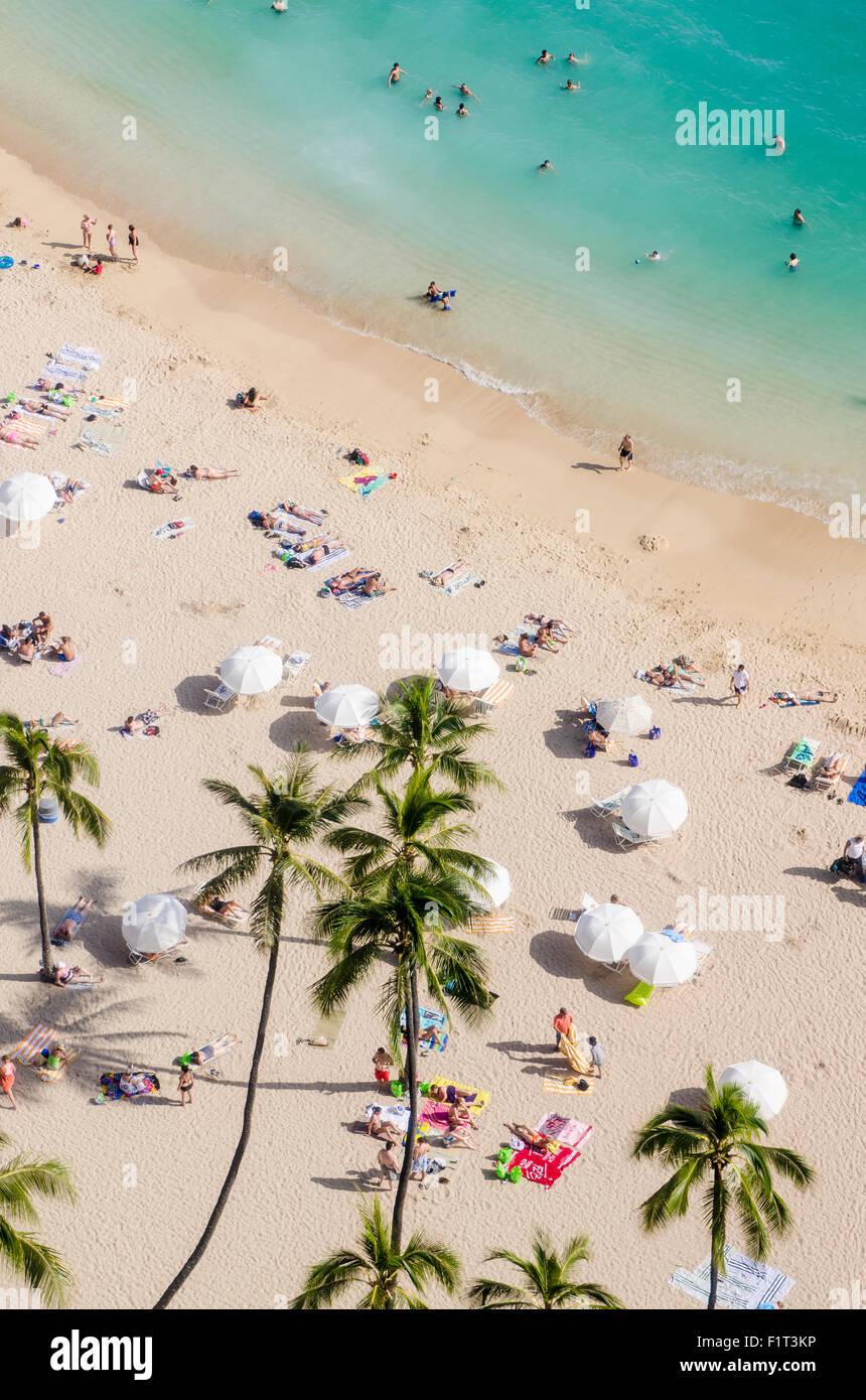 Waikiki Beach, Waikiki, Honolulu, Oahu, Hawaii, United States of America, Pacific - Stock Image