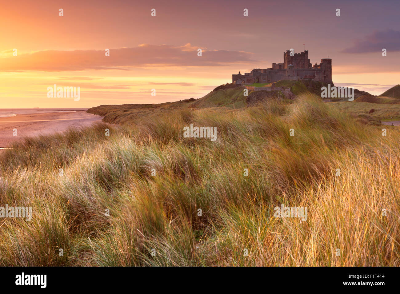 Sunrise over the dunes at Bamburgh Castle in Northumberland, England. - Stock Image