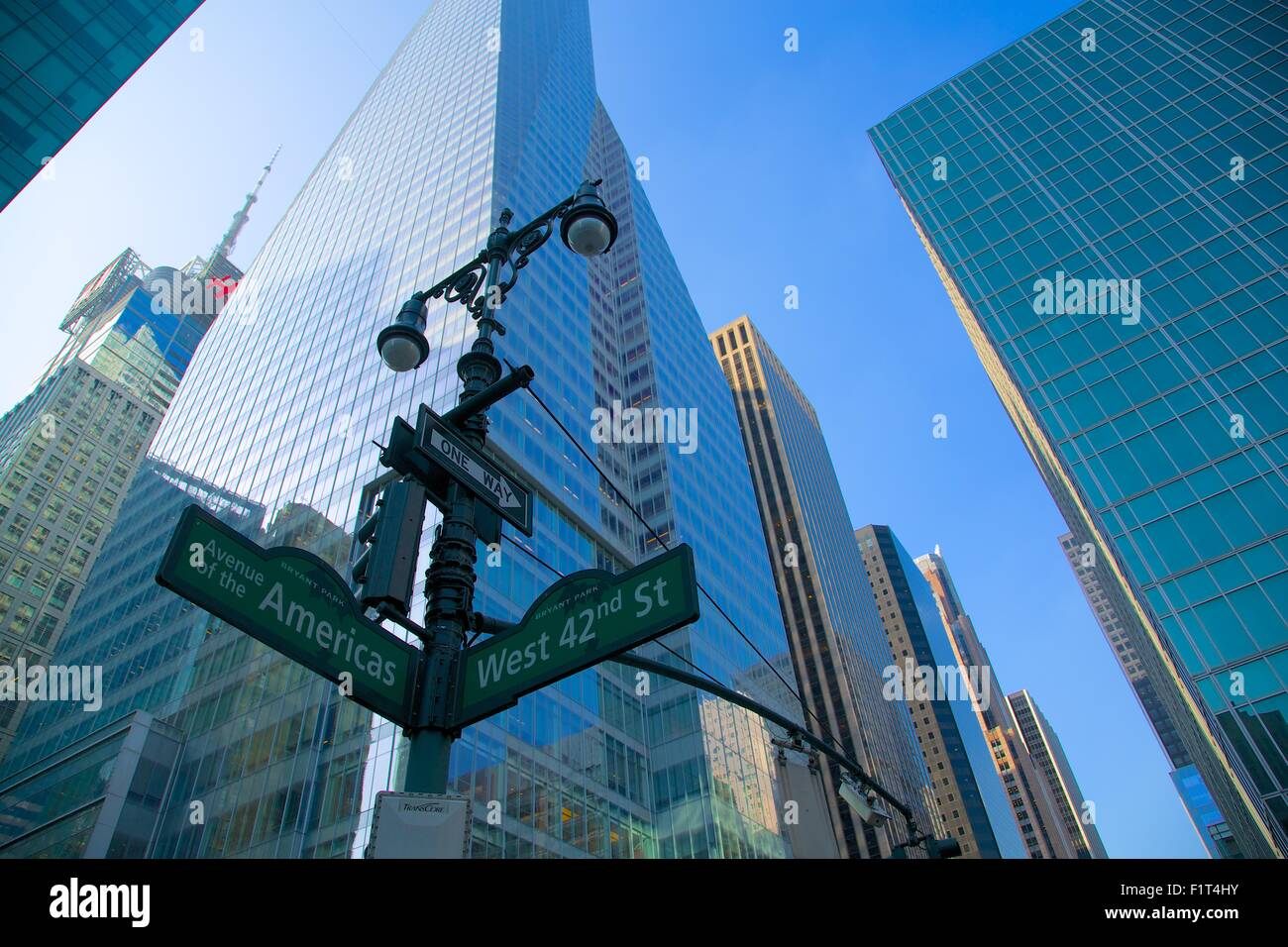 Avenue of the Americas and West 42nd Street signs, New York, United States of America, North America - Stock Image