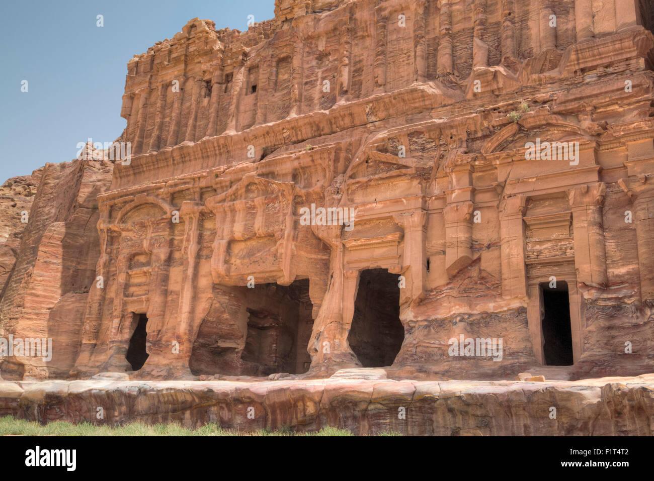 Palace Tomb, Royal Tombs, Petra, UNESCO World Heritage Site, Jordan, Middle East Stock Photo