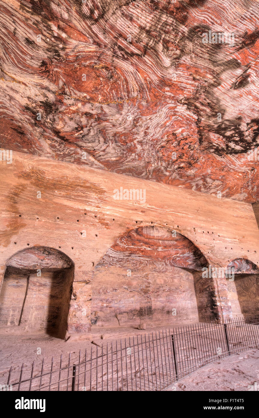 Inside the Urn Tomb, Royal Tombs, Petra, UNESCO World Heritage Site, Jordan, Middle East Stock Photo