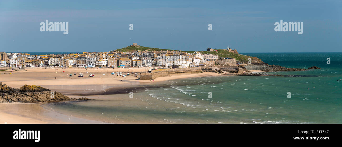 Panoramic picture of the popular seaside resort of St. Ives, Cornwall, England, United Kingdom, Europe - Stock Image