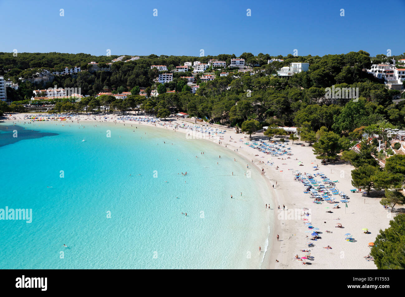 View over white sand beach, Cala Galdana, Menorca, Balearic Islands, Spain, Mediterranean, Europe - Stock Image