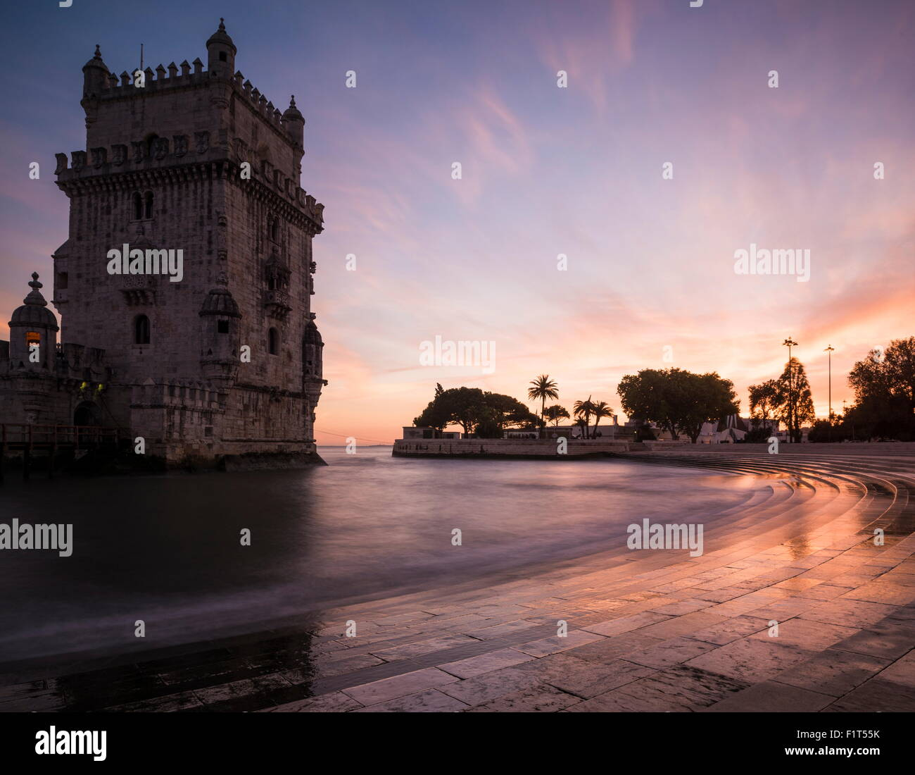 Belem Tower at dusk (Torre de Belem), UNESCO World Heritage Site, Lisbon, Portugal, Europe - Stock Image