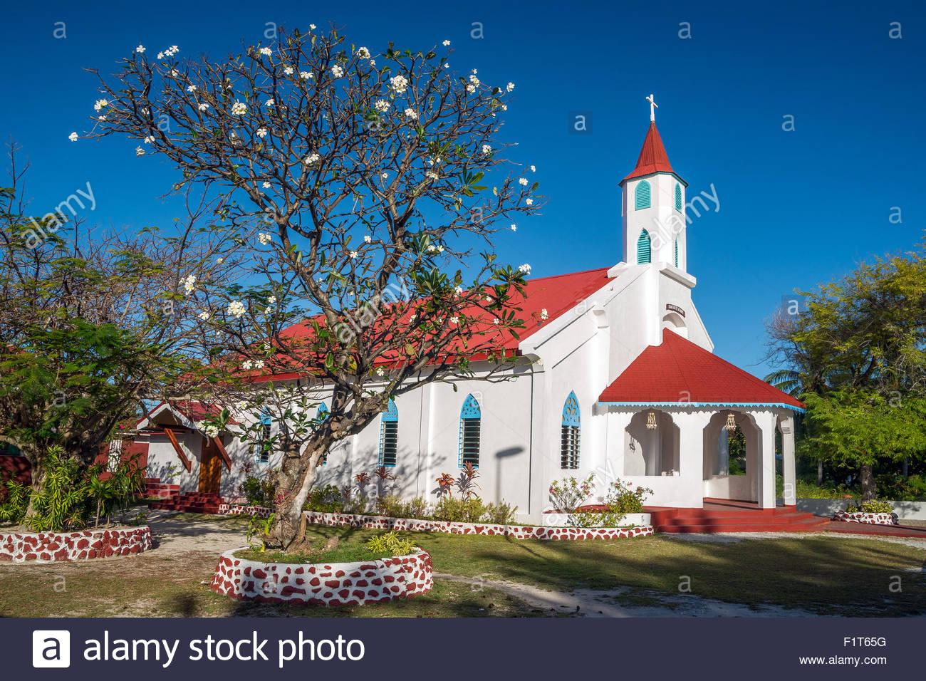 French Polynesia : Rotoava church in Fakarava Stock Photo