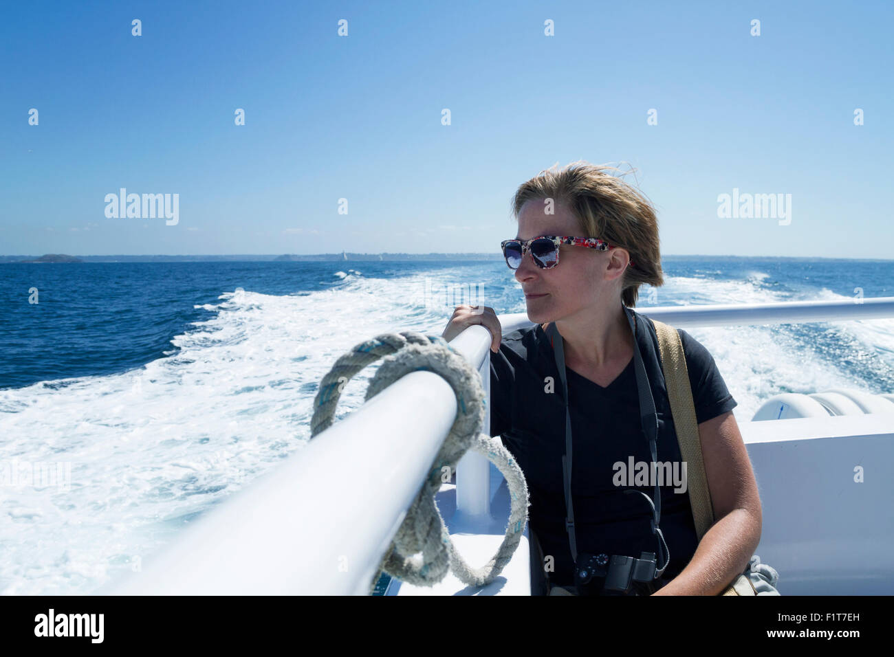 woman 35 years in a boat - Stock Image