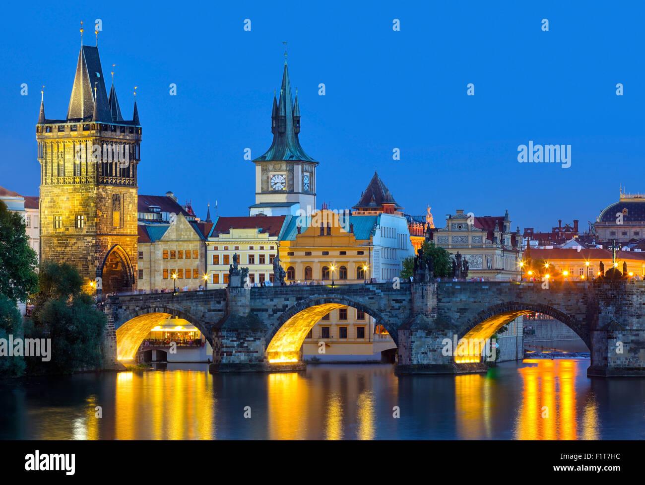 Prague,  Czech Republic at night - Stock Image