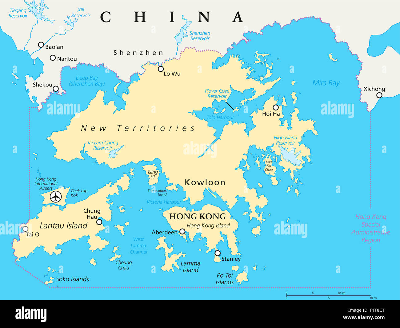 Hong Kong And Vicinity Political Map Stock Photo 87199976 Alamy