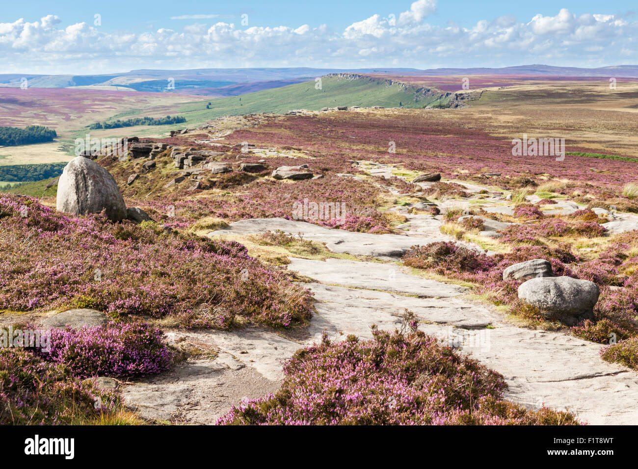 Looking along the length of Stanage Edge, a gritstone escarpment on the Derbyshire Yorkshire border, Peak District, - Stock Image
