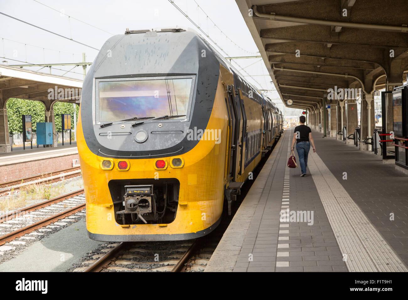 Sprinter train at platform, Maastricht railway station, Limburg province, Netherlands - Stock Image