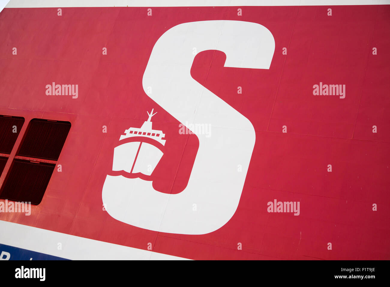 Large capital letter S on ship funnel, Stena Ferry, Hook of Holland to Harwich service, Netherlands to UK - Stock Image