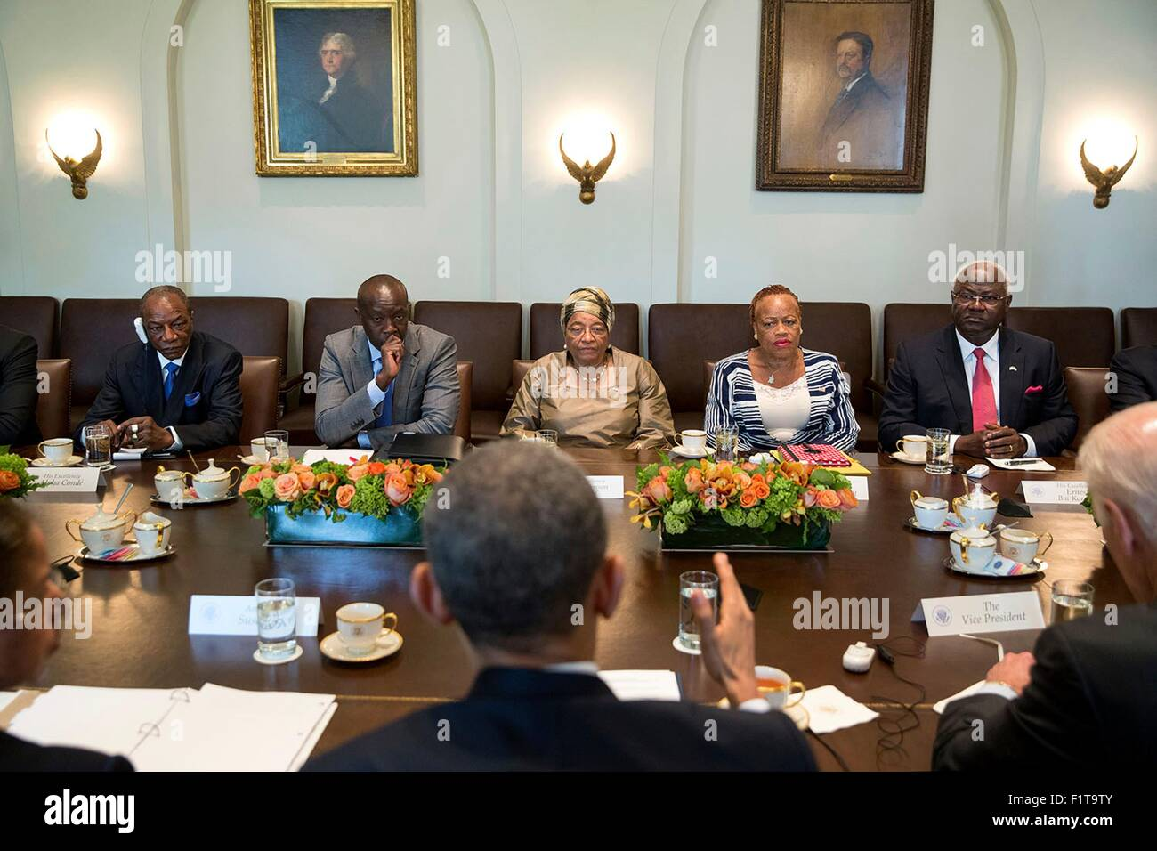 U.S. President Barack Obama and Vice President Joe Biden hold a multilateral meeting with West African leaders to - Stock Image